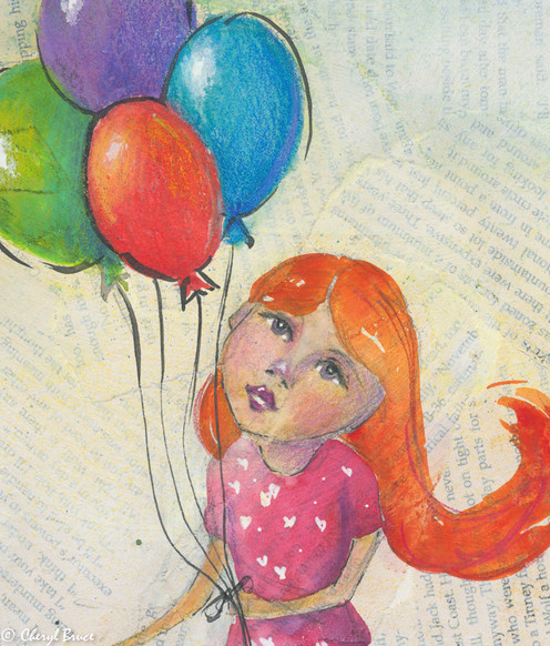 Girl with Balloons, mixed media