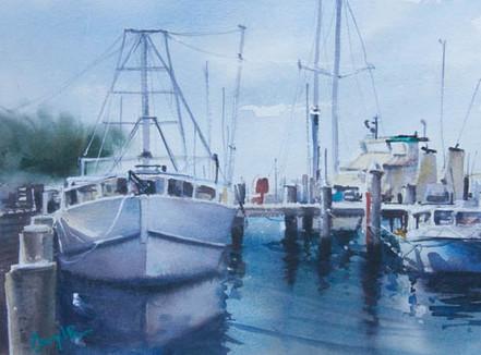 Newcastle Harbour, watercolour