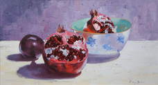 Pomegranate with Plum II, oil with resin, 40 x 64cm