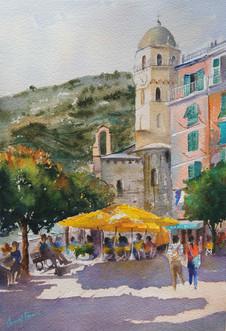 Yellow Umbrellas, Vernazza, Watercolo