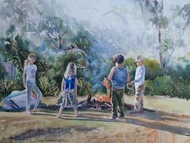 Campfire Dreaming, Watercolour full sheet