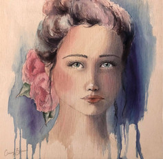 """Vintage Girl, pencil ink and watercolour on ply, 12x12"""""""