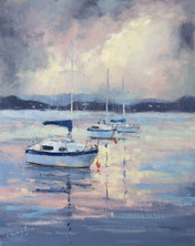 Moored, oil on textured board,