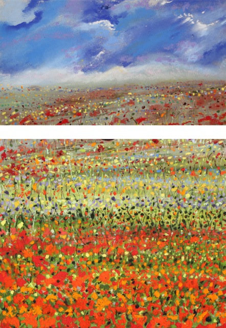 Poppies and Sky Diptych