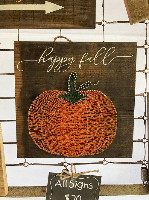 String Art - Happy Fall Pumpkin Cursive