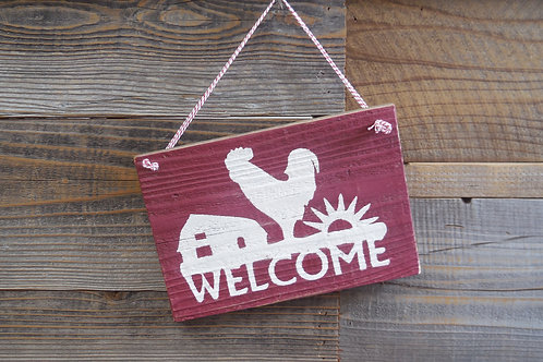 Welcome Rooster Sign