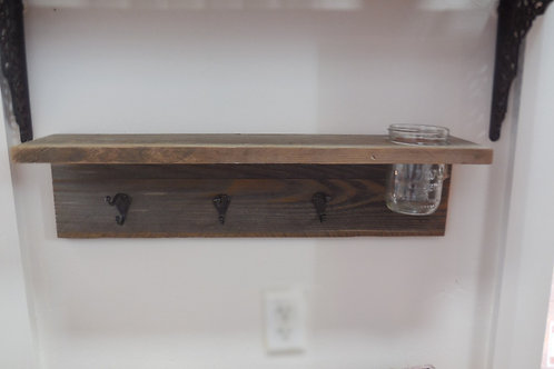 Shelf - 3 Hook with Ball Jar