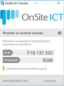 OnSite ICT QuickSupport window example