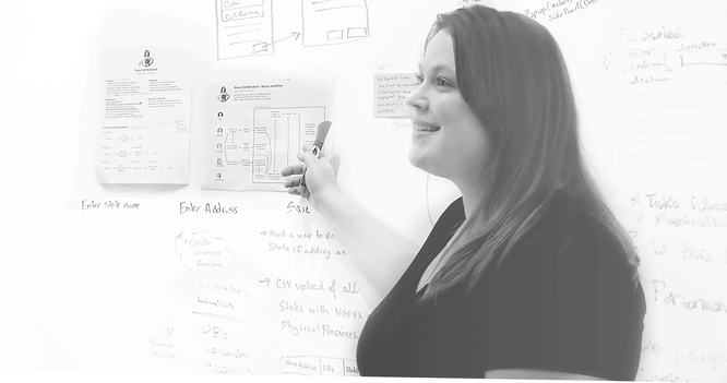 User experience designer in front of whiteboard