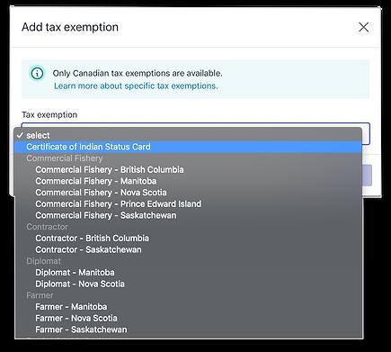 Tax Exemption UI Conecpt