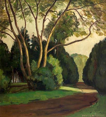 Adrien Hébert, Paysage, arbres verts, 1937
