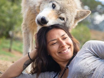 With Cinder at Wild Spirit Wolf Sanctuary