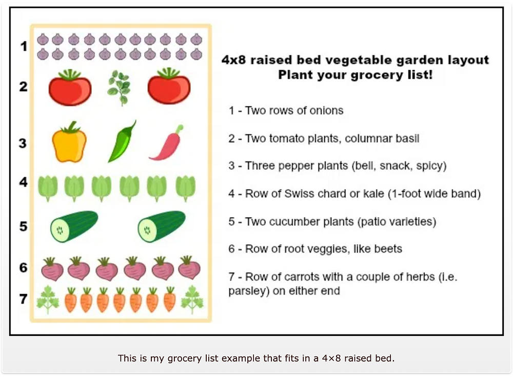 raised bed grocery list