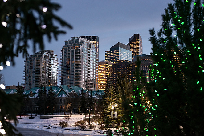 Calgary city view, winter, downtown, new year, celebration, christmas, buildings, bow river, prince`s Island park.jpg