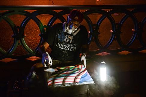 Las Vegas, Nevada, USA, NV, street artist, paint, picture, mask, evening.jpg