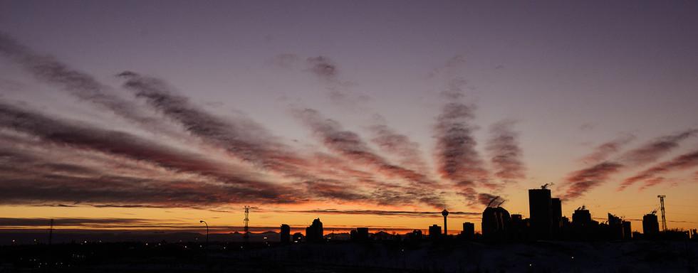 Calgary city view, skyscrapers, downtown, clouds sunset, NE Calgary Tower.jpg