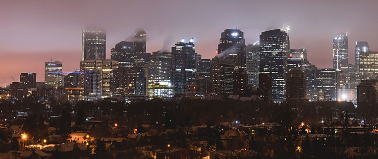 Calgary city view, fog, skyscrapers, winter, cold, night, lights.jpg