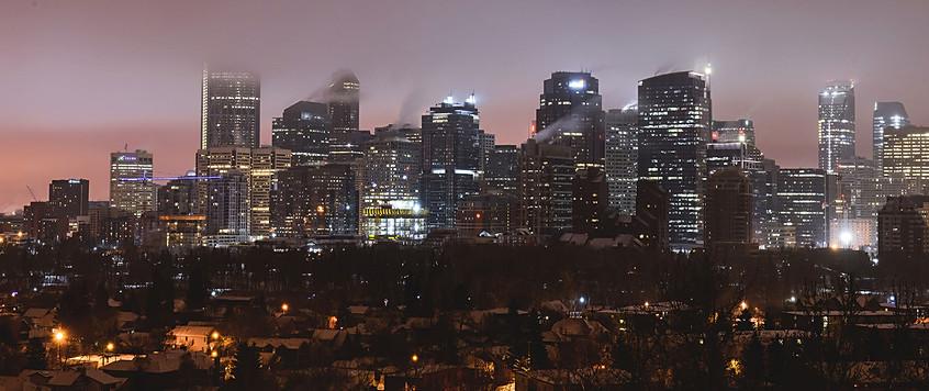 Calgary city view, fog, skyscrapers, winter, cold, night, lights.jpg
