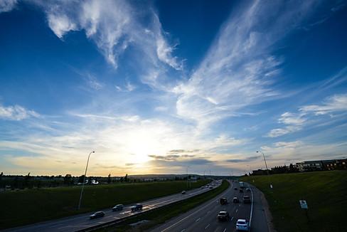 Calgary, Alberta, Canada, deerfoot trail, lights, summer, night, vehikles, speed, lines, blue sky, clouds.jpg
