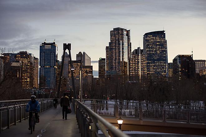 Calgary city view, downtown, buildings, bow river, bridge, bicycle, prince`s Island park, pedestrian, night, sunset.jpg