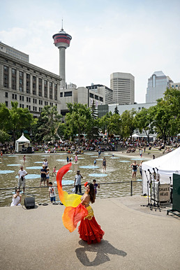 Calgary Tower, city, Canada, Alberta, AB, dance, Olympic Plaza, downtown, summer, heritage festival, people, crowd.jpg