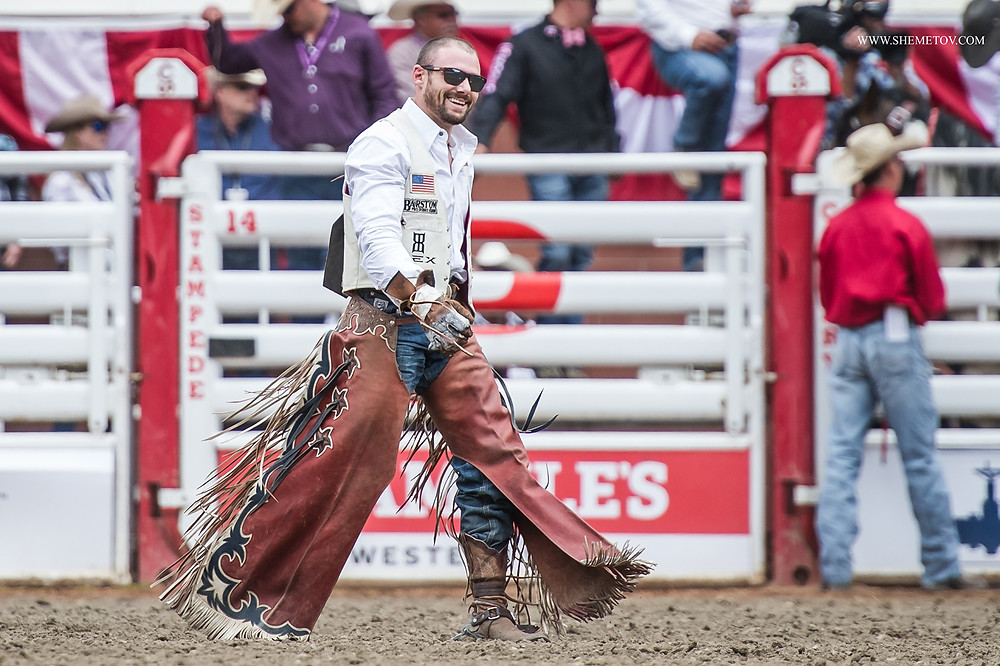 Calgary Stampede 2019. The cowboy is happy about his performance