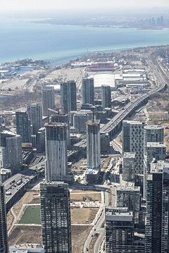 Toronto, Ontario. Canada, CN Tower, Downtown View from CN Tower, skyscrapers, Lake Ontario, highway, Gardiner Express Way.jpeg
