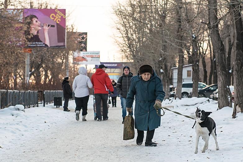 Russia, Magnitigirsk, street, woman, dog, old, winter, snow, cold, new year.jpg