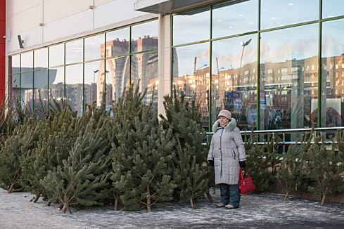 Russia, Magnitigirsk, street, christmas tree sales, woman, winter, snow, reflection, cold, new year.jpg