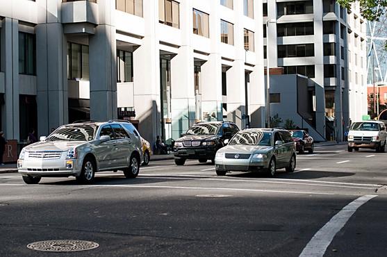Calgary, Alberta, Canada, downtown, cars, vehicles, reflections, morning sun, buildings.jpg