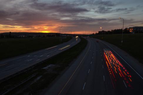 Calgary, Alberta, Canada, deerfoot trail, lights, summer, night, vehivles, speed, lines. sunset.jpg