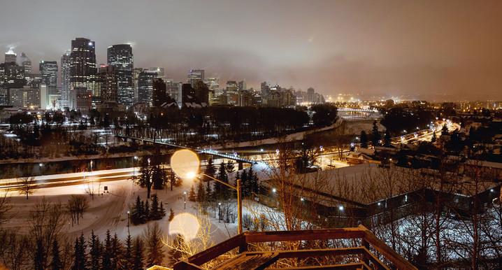 Calgary city view, fog, skyscrapers, winter, cold, night, lights, Bow river, Bridge.jpg