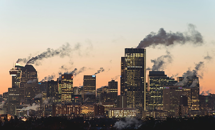 Calgary, Alberta, Canada, city view, downtown, fall, cold, steam, smoke, sunset, skyscrapers.jpg
