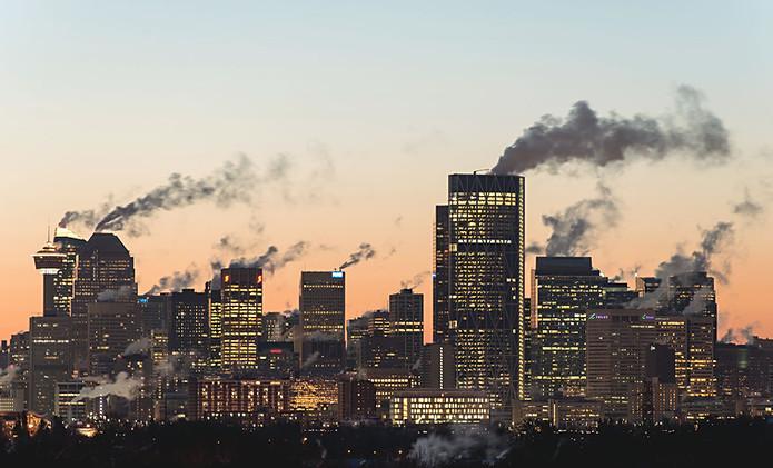 Calgary, Alberta, Canada, city view, downtown, fall, cold, steam, smoke, sunset, skyscrapers.jpg