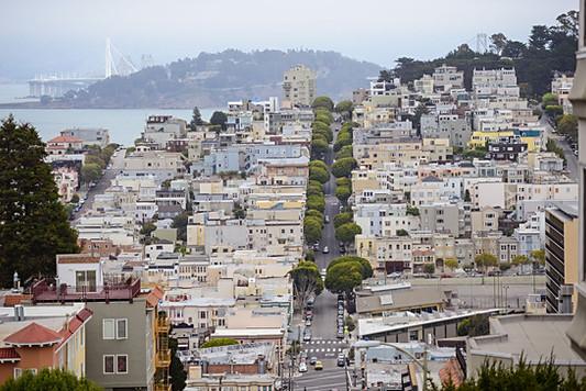 San Francisco, California, USA, city view, street, cars, bridge, sea, ocean, trees, houses.jpg
