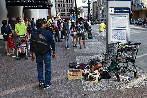 Vancouver, downtown, city centre, crowd, homeless, drugs, rabbit, addicted, sleeping on the street, no one cares, BC, Canada.jpg