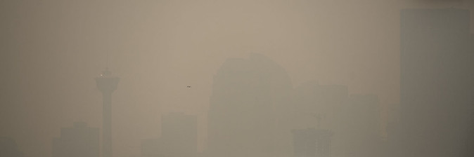 Calgary, Alberta, Canada, Smoke, BC forest fire, pollution, air, calgary tower, downtown view, skyscrapers.jpg