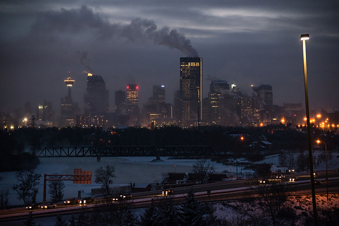 Calgary city view, Alberta, Calgary Tower, fog, skyscrapers, winter, cold, night, lights, Downtown, Bow river, Bow building, deerfoot trail.jpg
