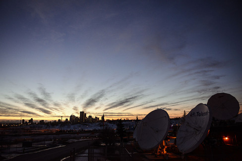 Calgary city view, skyscrapers, downtown, clouds sunset, NE, antennas.jpg