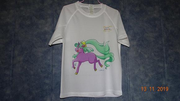 T-shirt_100% polyester_Licorne rose