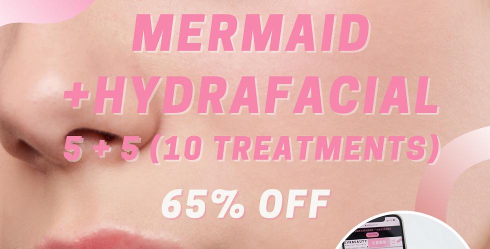 5+5 Mermaid Facial & Hydrafacial (total 10 treatments)  (35% OFF)