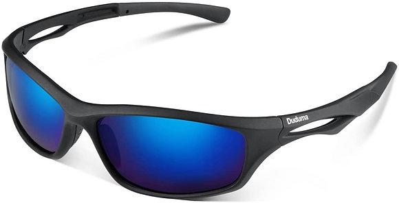 Duduma Polarized Sports Sunglasses-black matte frame with blue lens