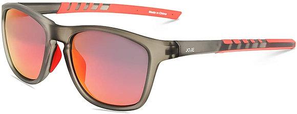 JOJEN Polarized Sports Sunglasses- Grey Frame Red Revo Lens