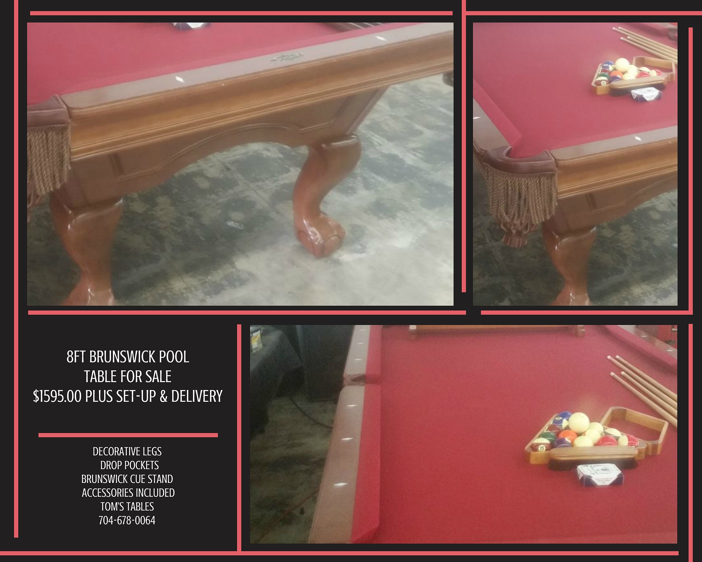 Pool table legs accessories for sale - Just In 8ft Brunswick Pool Table For Sale Burgundy Cloth Beautiful Table Decorative Legs Accessories