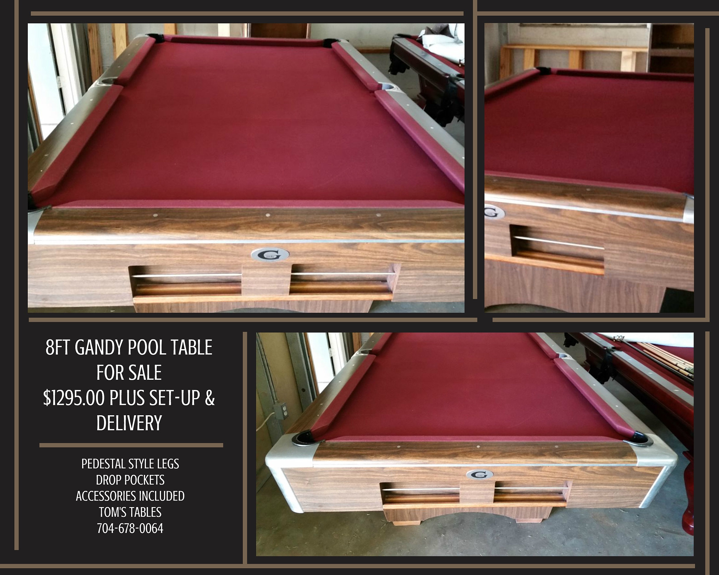 Pool table legs accessories for sale - Just In 8ft Gandy Pool Table For Sale Burgundy Cloth Drop Pockets Pedalstal Style Legs Accessories