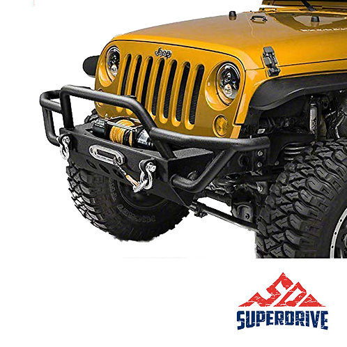 Black JK Front Bumper Textured Rock Crawler Bumper Compatible with Winch Plate