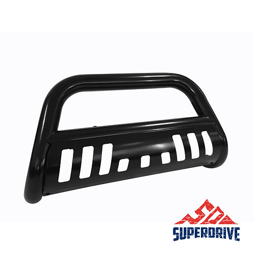 Black Powder Coated Steel Bull Bar Grill Bumper with Skid Plate & Light Holes