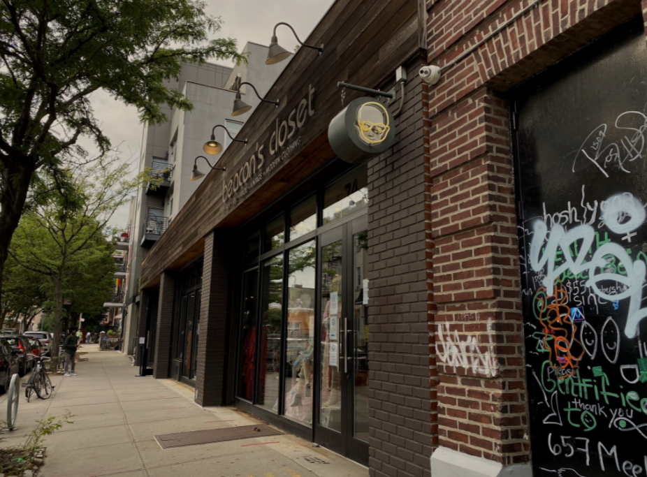 The brick exterior of the store Beacon's Closet in Williamsburg, New York.