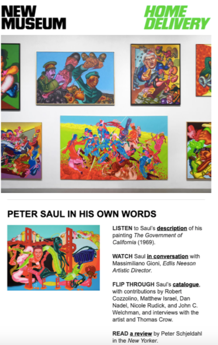 Screenshot from the New Museum's email newsletter, telling their subscribers to listen to the museum audio guide for the Peter Saul exhibition.