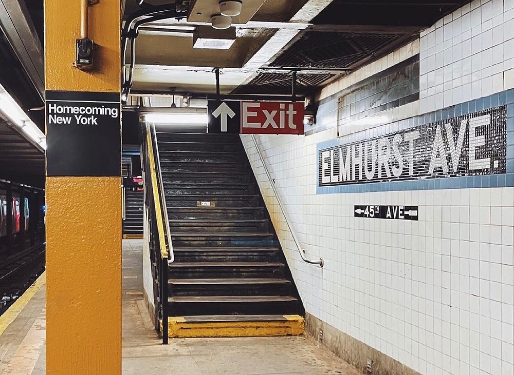 Elmhurst Avenue subway station with stairs leading up to the exit.